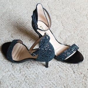 "Bamboo 3"" Strappy Glitter Heels - Blue"